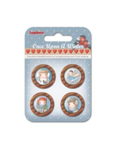 Wooden Button-One Upon a Winter -kpl. 4 szt