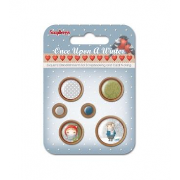 Wooden Button-One Upon a Winter -kpl. 6 szt